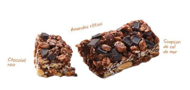 Barres granola au chia - Chocolat noir, amandes et sel de mer