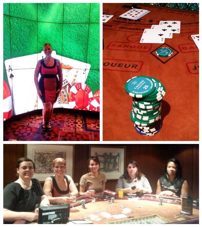 Le Casino de Charlevoix qui allie histoire et modernité. Photo du bas: les 5 bloggeuses invitées à une table de Blackjack