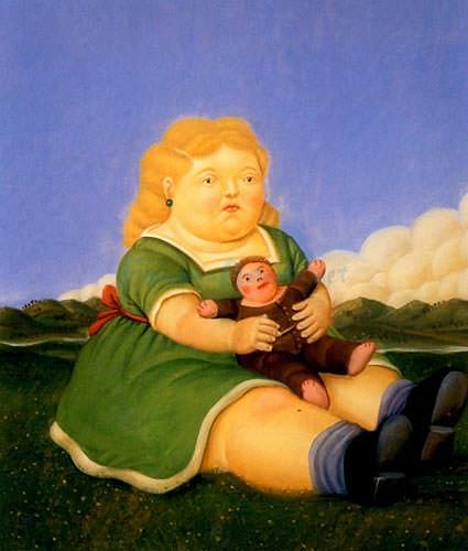 Girl-with-Puppet-artist-Fernando-Botero
