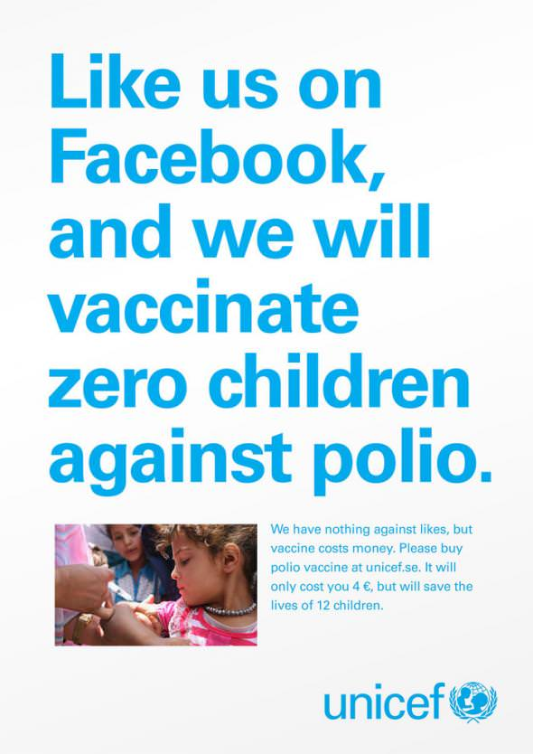 Likes don't save lives - Unicef