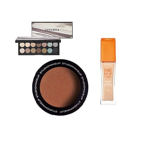 Palette Natural Instincts de Sephora, Fond de teint Wake me up de Rimmel et poudre soleil de Studio Makeup
