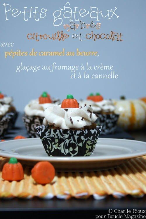 Petits gateaux marbres citrouille et chocolat avec pepites de caramel au beurre, glacage au fromage a la creme et a la cannelle
