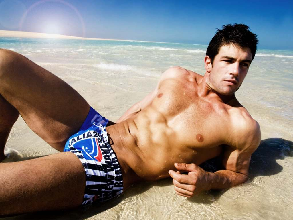 sexy blue men underwear show on the beach by aussiebum magazine2