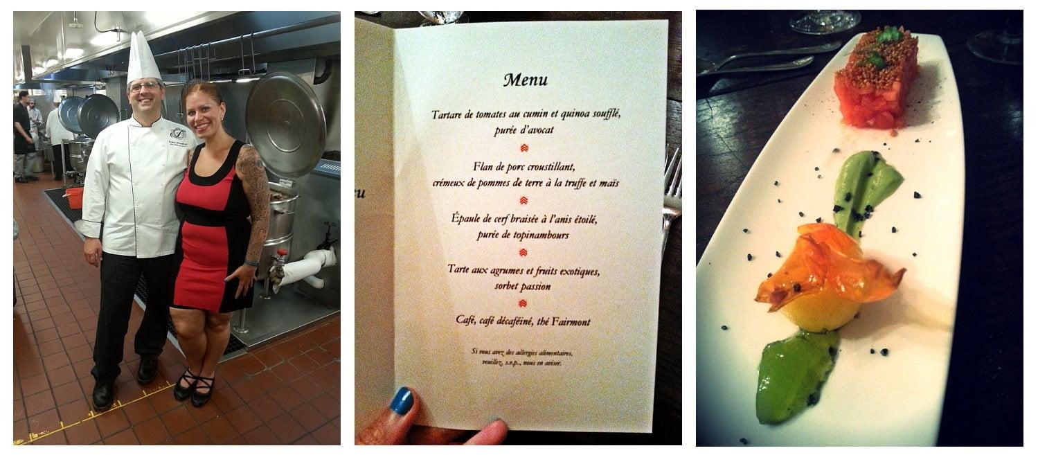 Dans les cuisines du Fairmont Le Manoir Richelieu avec le chef Robert Humphreys, le menu, et l'assiette de tartare de tomates.