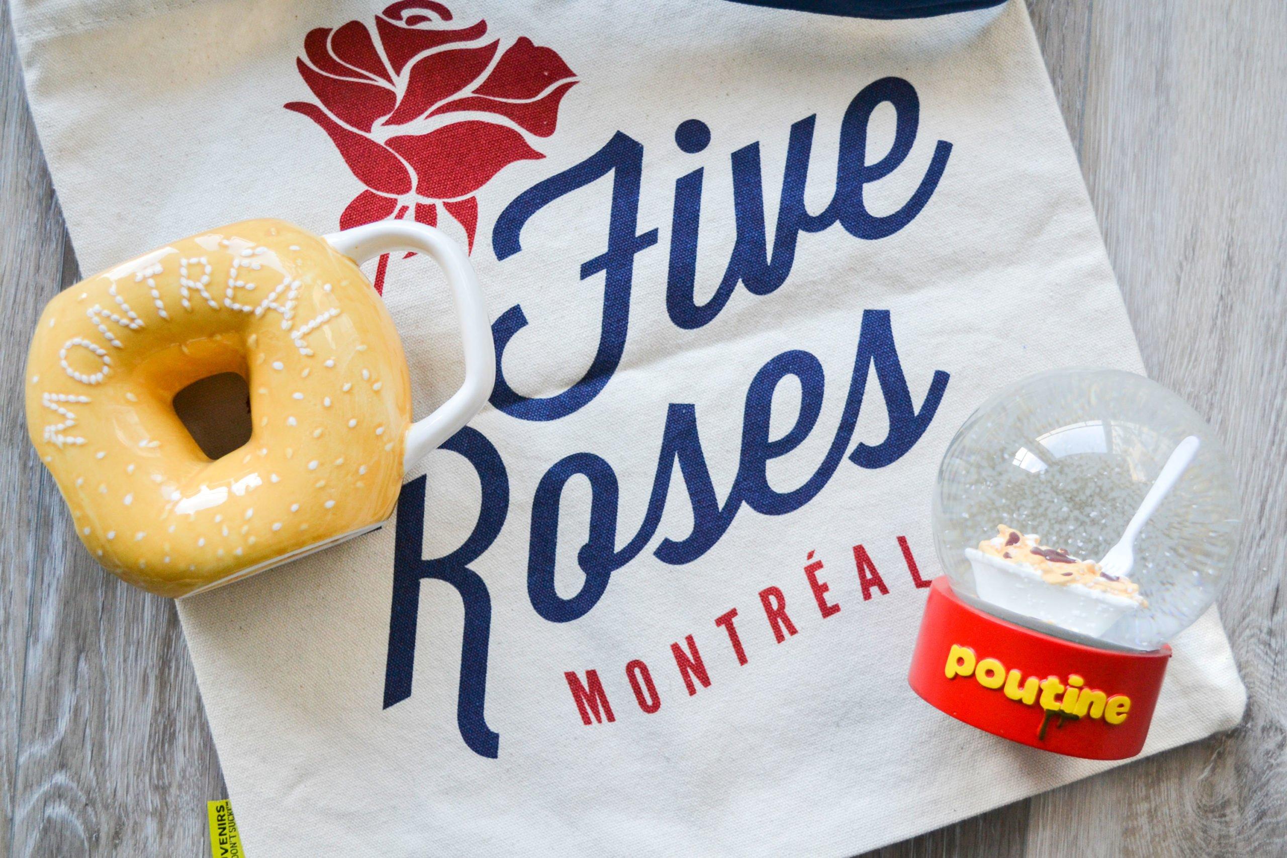 Main and Local bagel mug tasse Five Roses bag sac Poutine snow globe